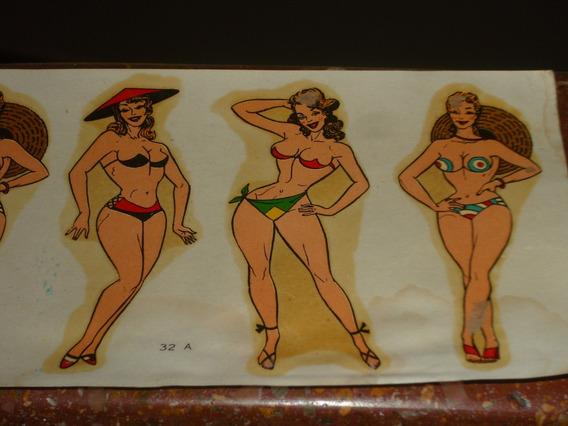 Chicas Divito Pin Up Antiguo Lote De 3 Calcos Al Agua Cºzx34