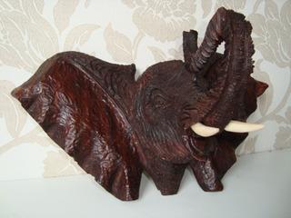 Cabeça Máscara Elefante Animal Madeira Africano África