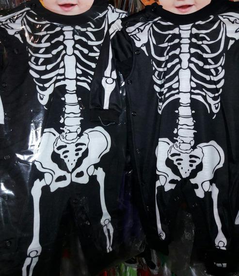 Macacão Caveira Roupa Bebê 6 Meses Fantasy Esqueleto