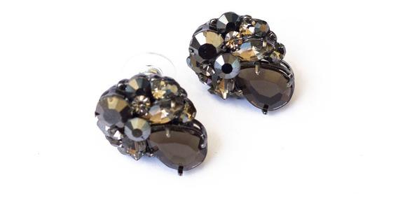 Brincos Feminino Pequenos Bijuteria Ródio Negro E Pedras