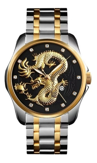 Relógio Skimei Dragão Mostrador Preto Com Pulseira Aço Inox