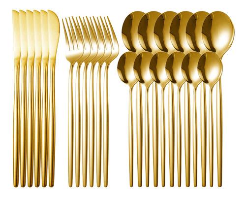 Imagem 1 de 6 de Conjunto De Talheres De Aço Inoxidável 24pcs Talheres Garfo