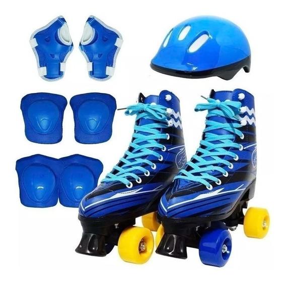 Patins 4 Rodas Roller Clássico Infantil Inmetro Kit Proteção