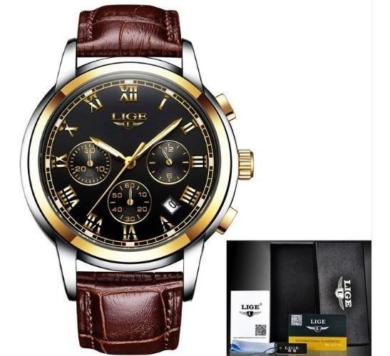 Reloj Casual Cuarzo Para Hombre Lige 9810 Oro Negro Cuero