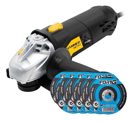 Kit Esmerilhadeira Angular Hammer Em710 4.1/2 Pol. 710w + 1