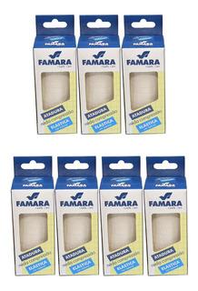 Kit C/ 7 Bandagem / Atadura Elastica Média Compressão Famara Cor Natural 10cm X 1,30m C/ 2 Presilhas