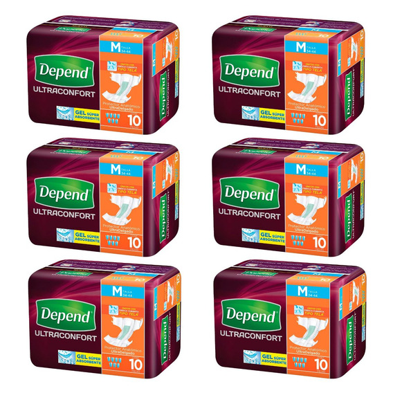Caja De Pañal Depend® Ultraconfort Mediano 6 Paquetes