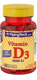 Vitamina D3 100 Caps 5000 Ui Piping Rock - Para 100 Dias