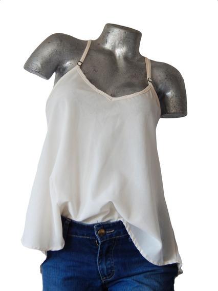 Blusa Musculosa Crema Escote V- Cuesta Blanca-