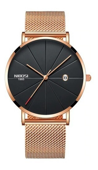 Relógio Nibosi Unissex Feminino Masculino 2321 Rose/preto