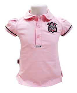 Camisa Do Corinthians Infantil Polo Oficial Menina