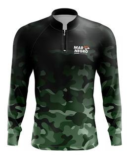 Camiseta Pesca Mar Negro Proteção Uv50 Peixe C/ Camuflado
