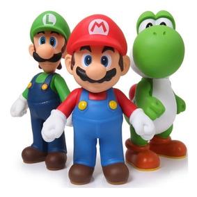 Boneco Super Mario Kit Com 3 Peças - Mario, Luigi E Yoshi