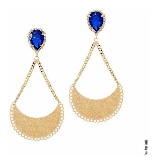 Maxi Brinco Cristal Azul Folheado Ouro 18k Francisca Jóias