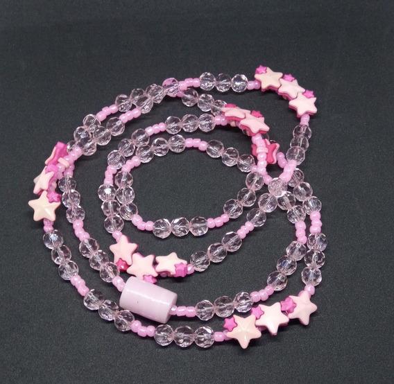 Guia De Erê Contas De Cristal E Miçangas Com Estrelas Rosas