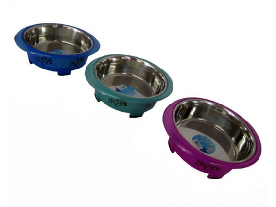 Comedouro Inox Para Cães Md Revestido De Plástico 1,7 L