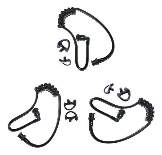 3x Tubo Acústico De Substituição Com S+m+l Earbud Para Kenwo