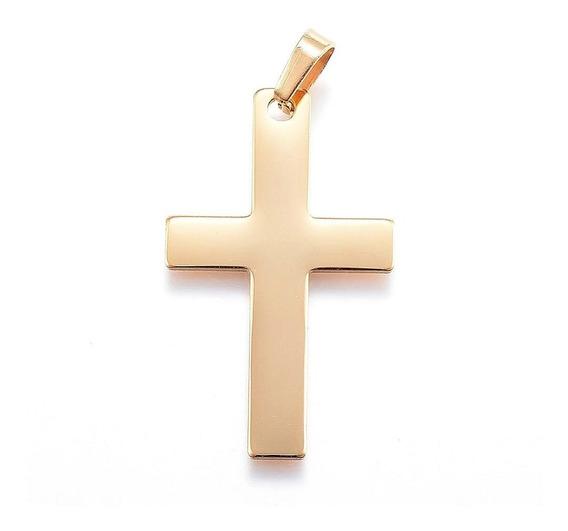 Collar Acero Inoxidable Dije De Cruz, Cristo, Dije Y Cadena