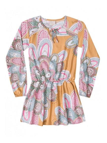 Vestido Quimby Infantil Longa Em Tecido Mostarda