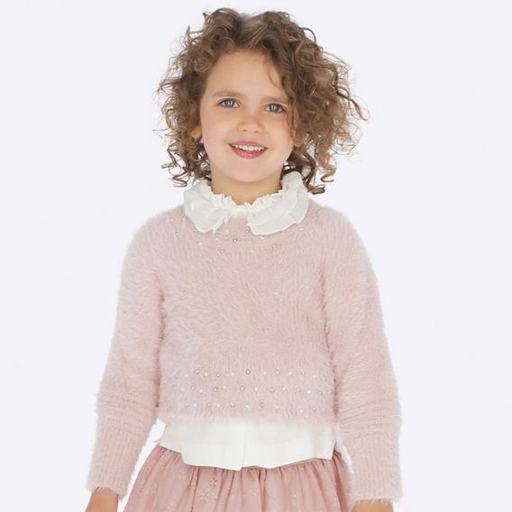 Suéter Mayoral 4301 Elegante Chic Rosa Nude Niña #4 Años