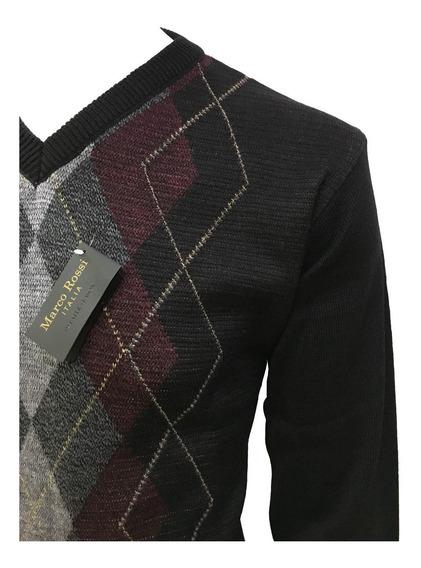 Suéter Negro Con Rombos Cuello V Hombre