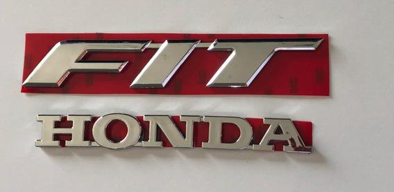 Kit Emblema Letreiro Fit + Honda Cromado 2 Peças