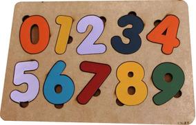 05 Brinquedo Encaixe Números Educativo Pedagógico Mdf