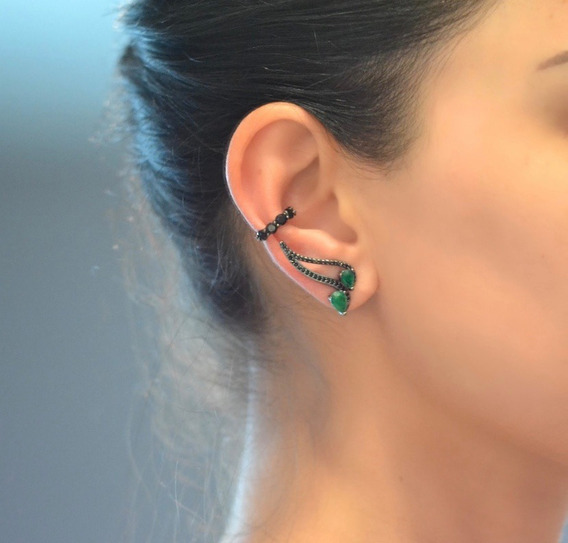 Promoção Ear Cuff Negro Com Esmeralda Semijoia