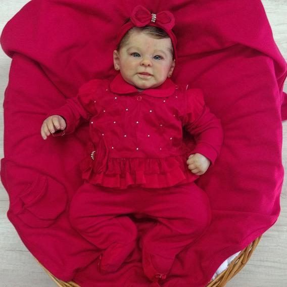 Saída De Maternidade Menina Eduarda Com Strass Vermelha