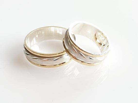 Argollas Anillos Compromiso Matrimonio Plata 925 Con Oro 18k