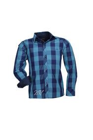 Camisa Infantil Alfa Tecido Algodão Xadrez - Royal - 187