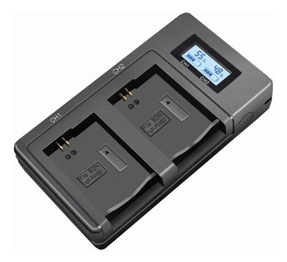 Carregador Duplo Com Display Lcd Para Baterias Np-fw50