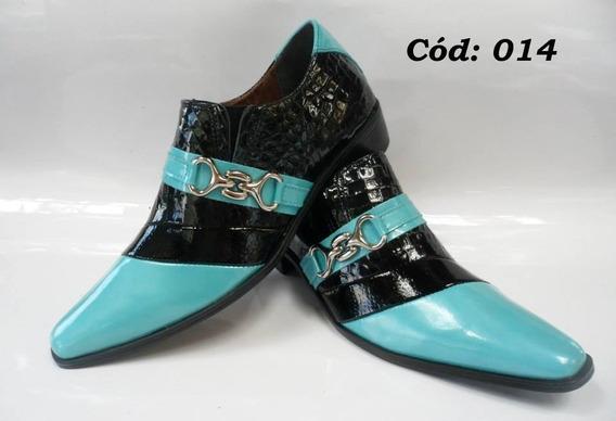 Sapato Masculino Em Couro Preto Verniz E Azul Cod:14