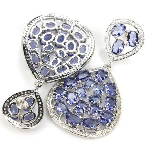 Brinco Feminino Zircônia Azul Grande Luxo