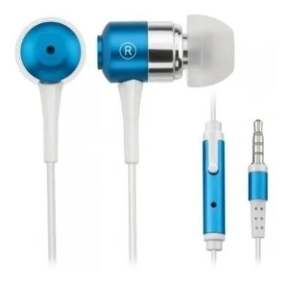 Fone De Ouvido Multilaser Ph060 Azul Metalico Com Mic Talk F