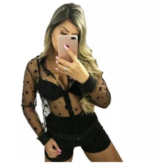 Jaqueta Bomber Feminina Tule Transparente Estrelas Linda #ar