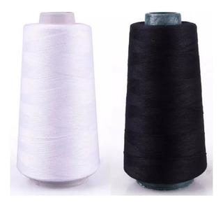 Hilo Cocer 1000 Mts Color Blanco Negro Confección Costura