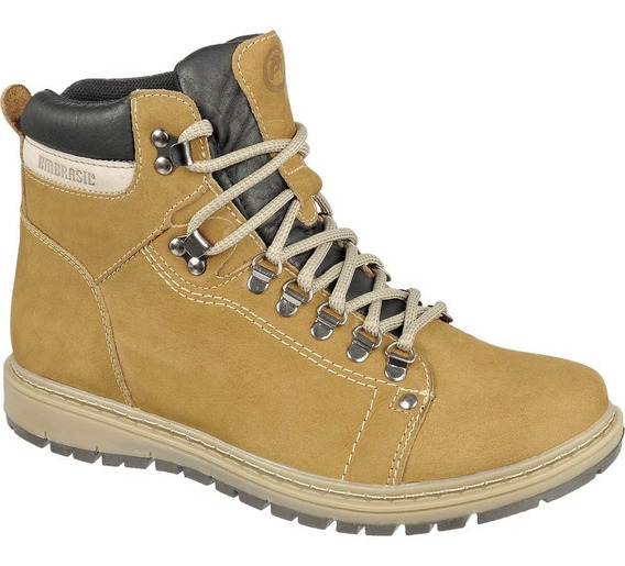 Coturno Masculino 100% Couro Bmbrasil Working 8501 Camel