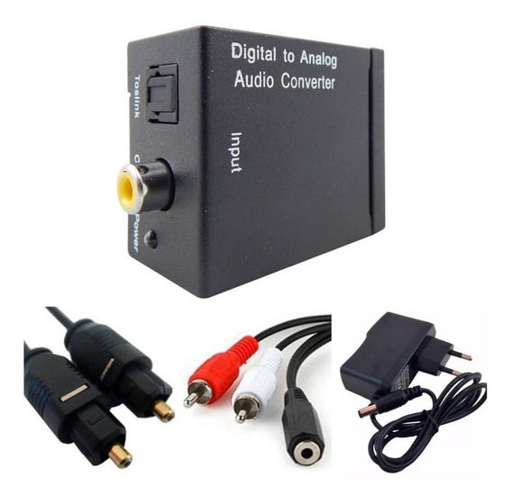 Kit Conversor Óptico X Rca + Cabo Óptico + Cabo 2 Rca X P2