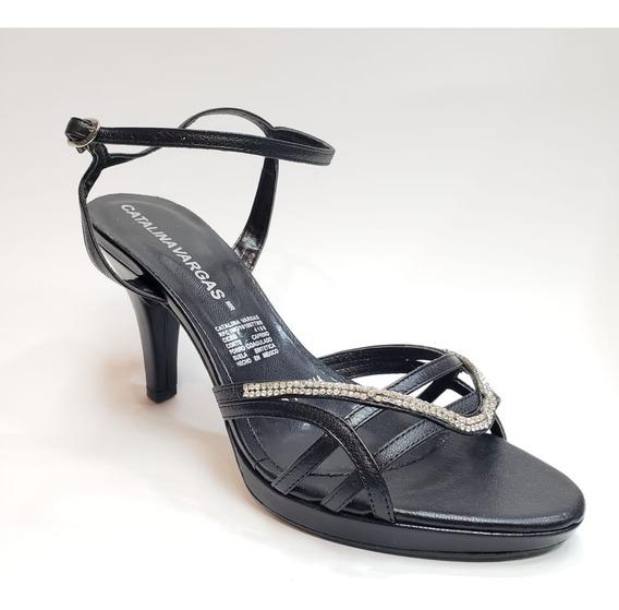 Sandalia Formal Elegante Con Aplicaciones Tacón Bajo 64254