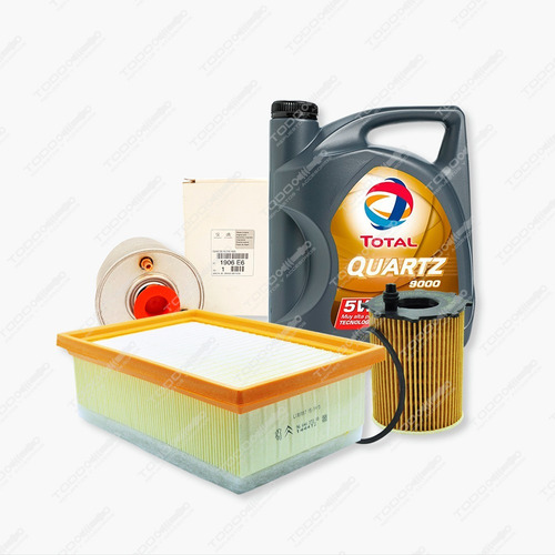 Kit 3 Filtros + Aceite Total Peugeot 308 Y 408 1.6 Hdi