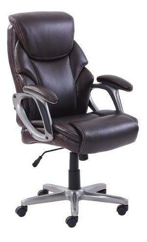 Cadeira De Escritório Luxo Em Couro Com Conforto Ergonômica