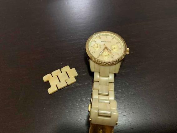 Relógio Mk Madreperola /dourado, Tamanho Médio