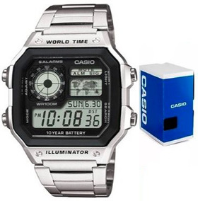 Reloj Casio Ae1200 Acero Mapa Alarmas Envío Gratis Original