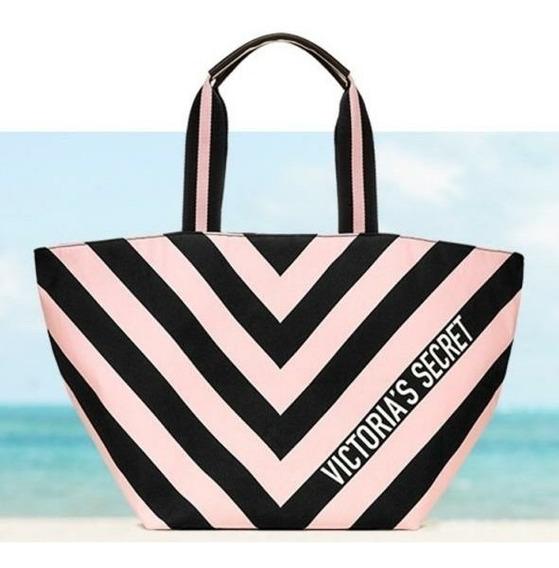 Victoria Secret Bolso Tote Ult Colecc Cierre/logo Negro Rosa