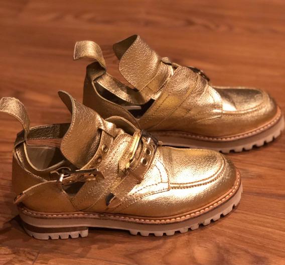 Zapatillas / Zapatos Sibyl Vane De Cuero Doradas Talle 36