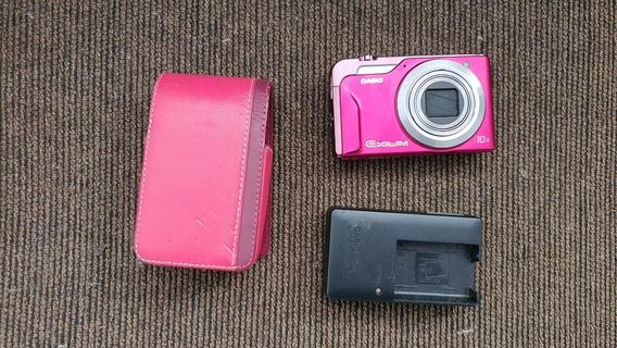 Câmera Fotográfica Digital Casio Elixim Rosa Ex-h10 Usada