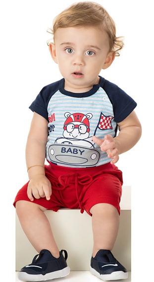 Roupa Bebê Menino Conjunto Body Ribana E Shorts Moletinho