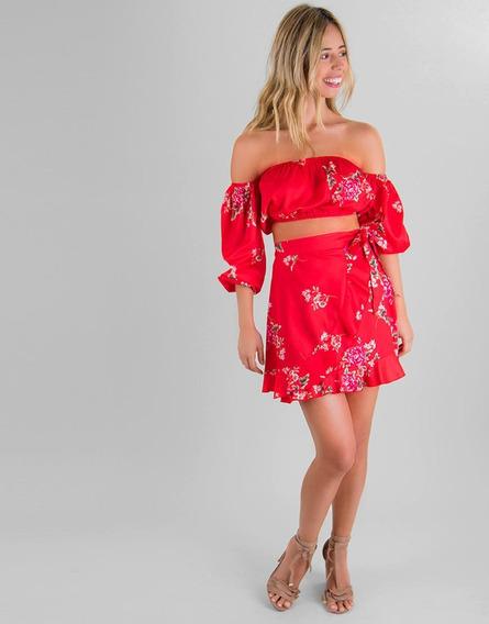 Falda Corta Envolvente Roja Estampado Floral