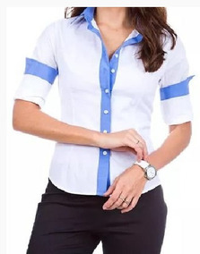Camisa Feminina Manga Longa Detalhes Azul Claro Liso